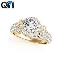 QYI Round Cut Cubic Zirconia 14k Yellow gold Ring Classic Engagement Wedding Ring For Women Bridal Jewelry