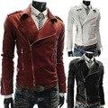 Новое прибытие мужская Мода Повседневная Куртка Мужчины Мотоцикл Куртки Slim Fit ПУ Кожаные Куртки Для Мужчин Высокое Качество куртка