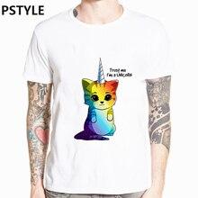 summer mens t-shirt rainbow unicorn cat print tee shirt homme short sleeve funnyt shirts animal basic white tops