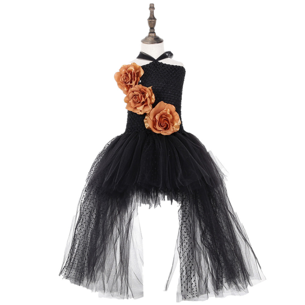 Black Polyester Mesh Polka Dot Dress with Gold Flower Wedding Dress Long Train Halloween Costumes for Teens Xmas Clothes Vestido (2)