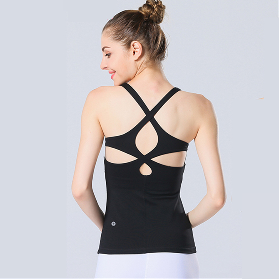 35d8ba79ca4a7 2017 Women s Yoga Gym Pink Top Shirts with Padded Sexy Open Back Workout  Tank Tops Yoga Fitness Sports Racerback Tank Tops Nylon-in Yoga Shirts from  Sports ...