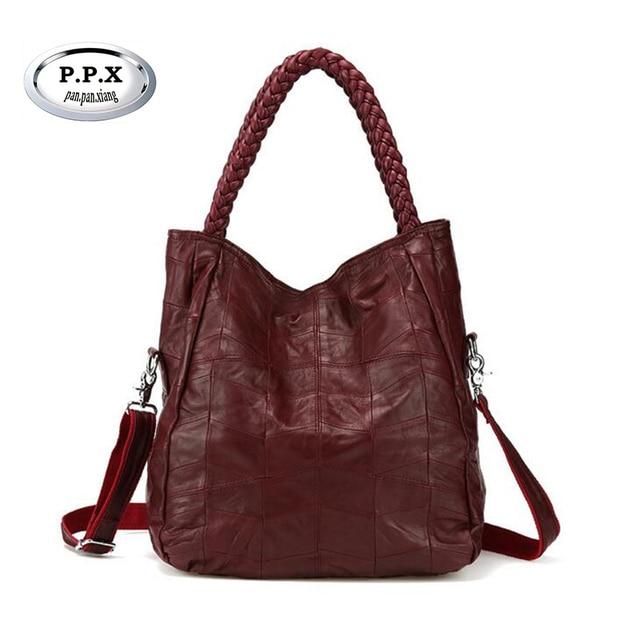 P.P.X Brand Genuine Leather Women Handbag Lambskin Women's Messenger Bags  Real Sheepskin Big Bag Patchwork Shoulder Bag Y139