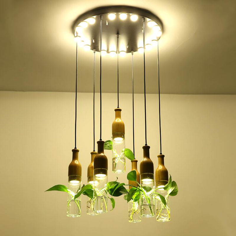 Creative bar LED hydroponic plant chandelier Nordic simple restaurant cafe window balcony solid wood chandeliers спортинвентарь nike чехол для iphone 6 на руку nike vapor flash arm band 2 0 n rn 50 078 os