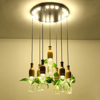 Creative bar LED hydroponic plant chandelier Nordic simple restaurant cafe window balcony solid wood chandeliers