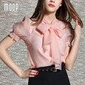 Rosa mujeres shorts OL arco decoración blusa de la gasa camisas blusas y camisas blusa camisetas y tops renda vetement femme LT359