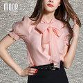 Rosa mulheres tops shorts OL bow decor chiffon blusa camisas blusas y camisas blusa camisetas y tops renda vetement femme LT359