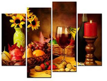 HD print 4 panel Canvas Art Fruit Red Wine Pictures On The Wall for Kitchen Food