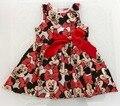Verano Muchachas del Estilo de Ropa Para Niños Vestido de Princesa Niña de Dibujos Animados Minnie Mouse ropa De Algodón Sin Mangas Vestidos