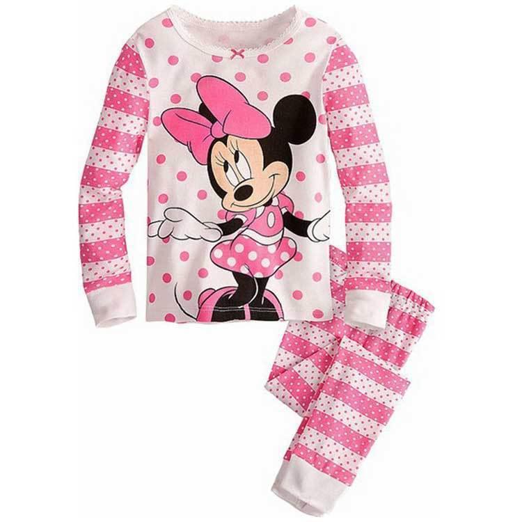 Hot Sale Cute Baby GirlsPajama Set Kids Minnie Mouse Print Cotton Nightwear Infant Sleepwear Clothing Suit