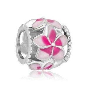 Ücretsiz kargo pembe çiçek Charms telkari satış takı boncuk ucuz Fit Pandora Charms bilezik hediyeler