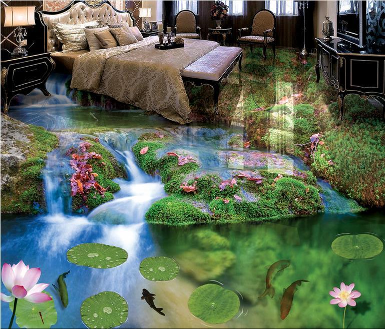 ФОТО custom wallpaper 3d floor murals Creek water park wallpaper for walls 3d for living room 3d flooring 3d wallpaper walls