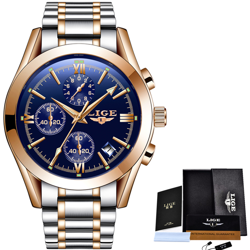 LIGE Luxury Brand Gold Watchs Men's Quartz Military Sports Watch Men Full Steel Casual Business Wrist Watches Relogio Masculino new clock gold fashion men watch full gold stainless steel quartz watches wrist watch wholesale kezzi gold watch men k1174