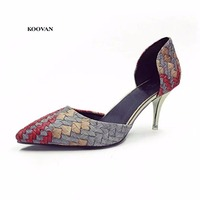 Koovan Women Pumps 2017 The High Heel Point Small Shoes Fashion Pointed Bead Low Shoes To