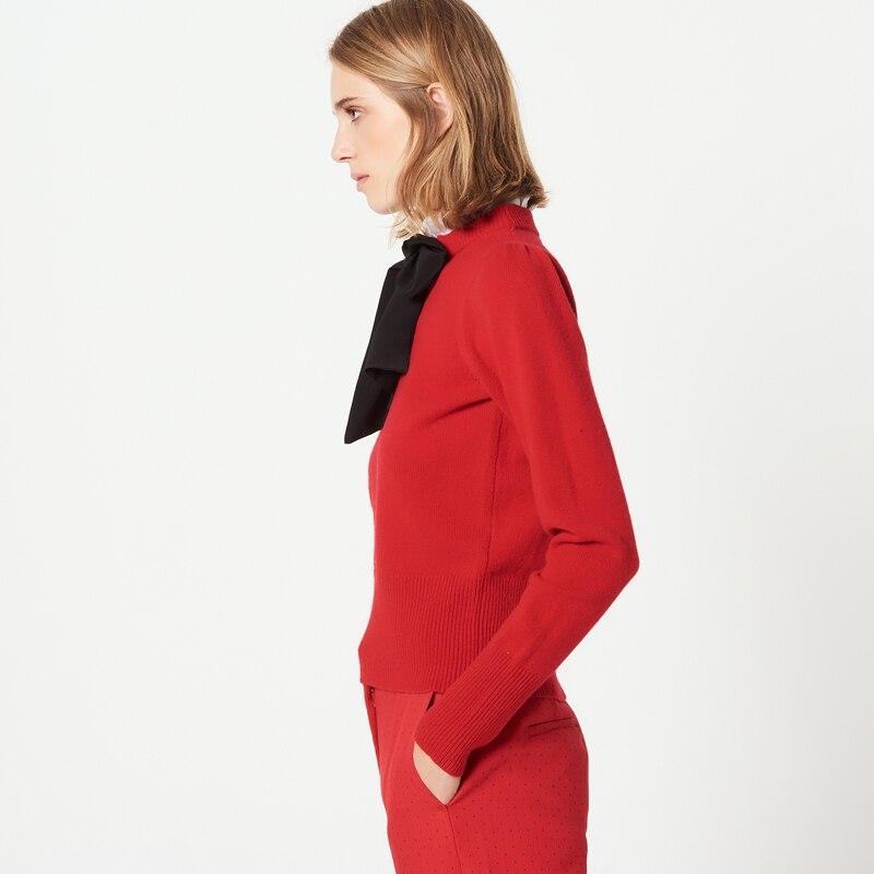 ฤดูใบไม้ร่วงฤดูหนาวใหม่ 2018 ผู้หญิงแฟชั่นโบว์เสื้อกันหนาว collaret-ใน เสื้อคลุมสวมศีรษะ จาก เสื้อผ้าสตรี บน   3