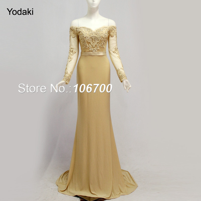 2018 Gold Colors Long Sleeves Mermaid Bridesmaid Dresses Embroidery Lace Sweetheart Off Shoulder Pageant Prom