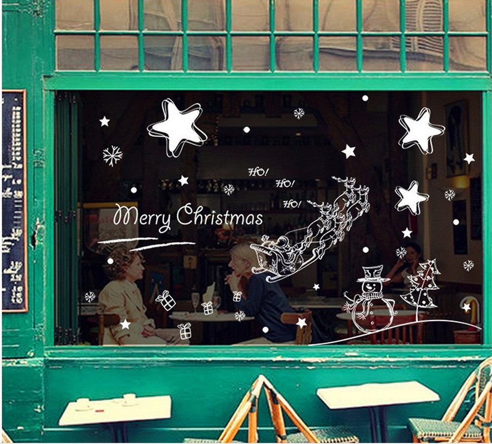 Merry Christmas Starry Sky Background Wall Decoration Removable Wall Stickers For Shop And Office Windows