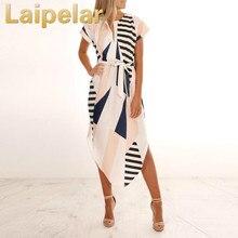 Laipelar Women Dress Vestido Summer Slim Geometric Printing Asymmetrical Ropa Mujer Casual
