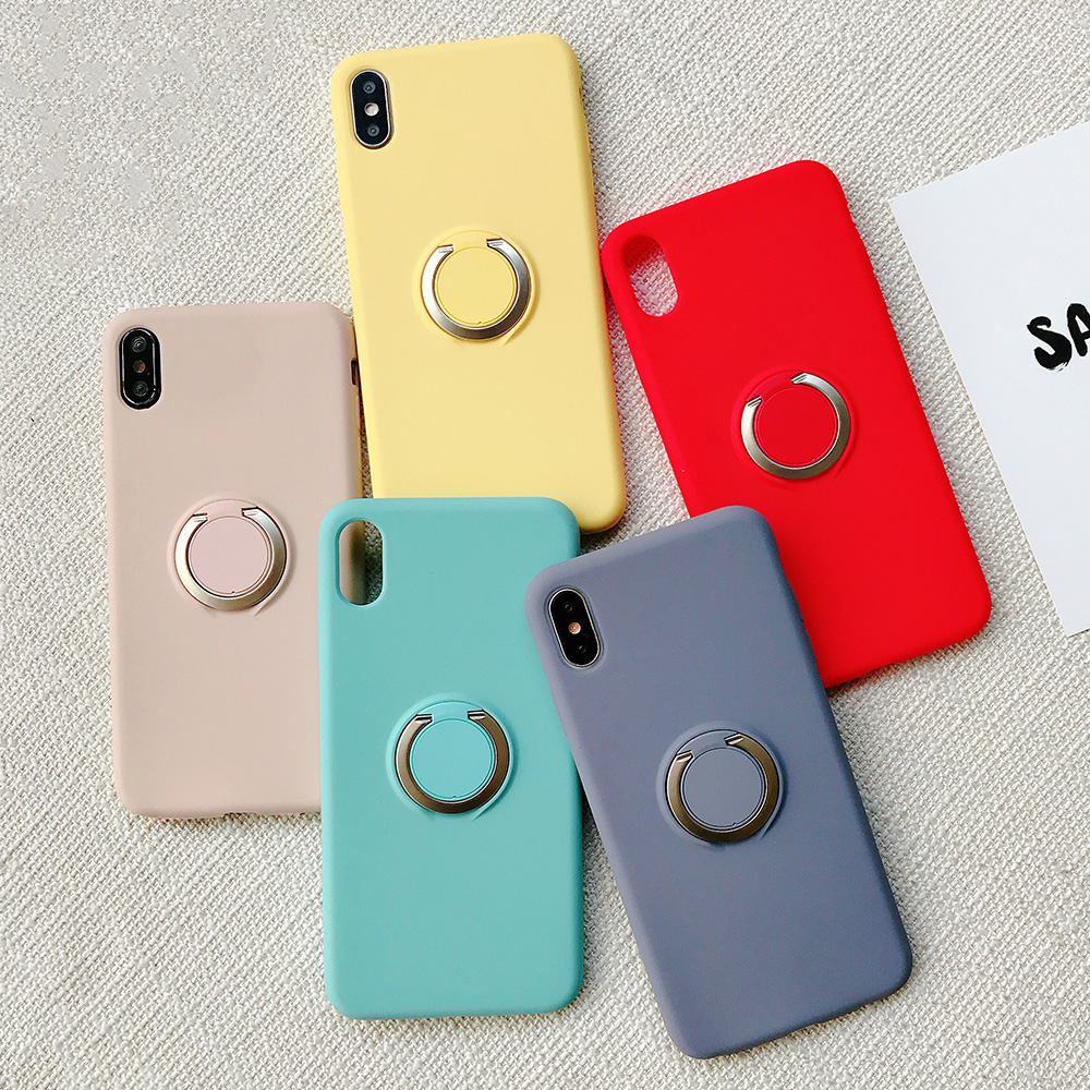 KIPX1110_11_JONSNOW Pure Color Phone Case for iPhone XS XR XS Max 6 6S 7 8 Plus Matte Soft TPU Solid Cover with Ring Holder Capa Fundas