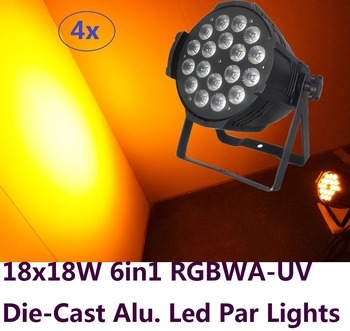 4xLot Free Shipping DJ Par Cans RGBWA UV 6IN1 18X18W Led Par Light Aluminum Alloy Shell Par Led Disco DMX Stage Effect Lights wireless dmx battery power rgbwy uv 6in1 led par can light with wifi