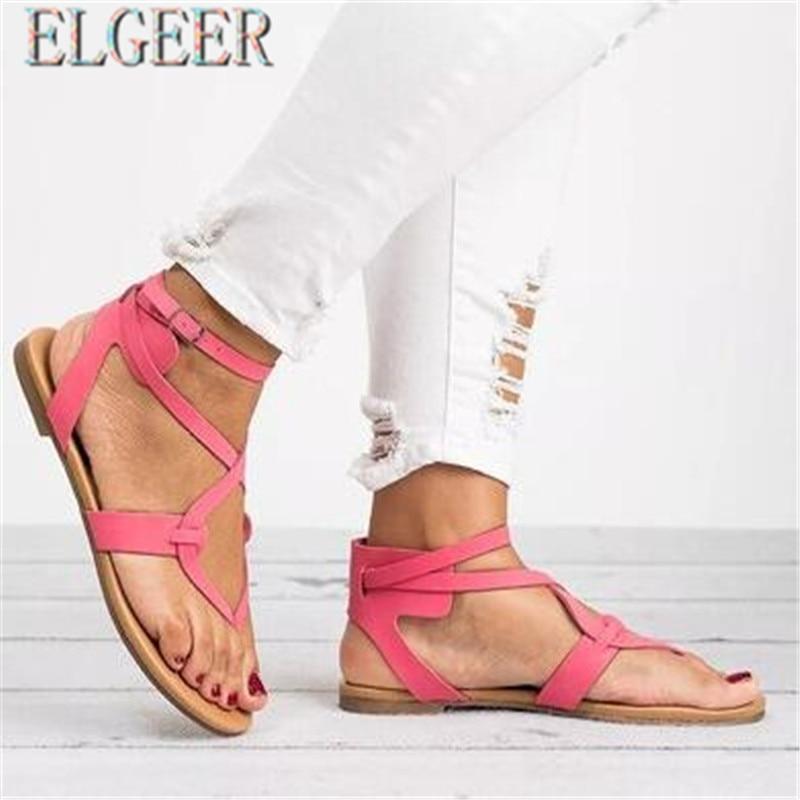 2018 musim panas baru tipis dengan sandal datar perempuan datar - Sepatu Wanita - Foto 5