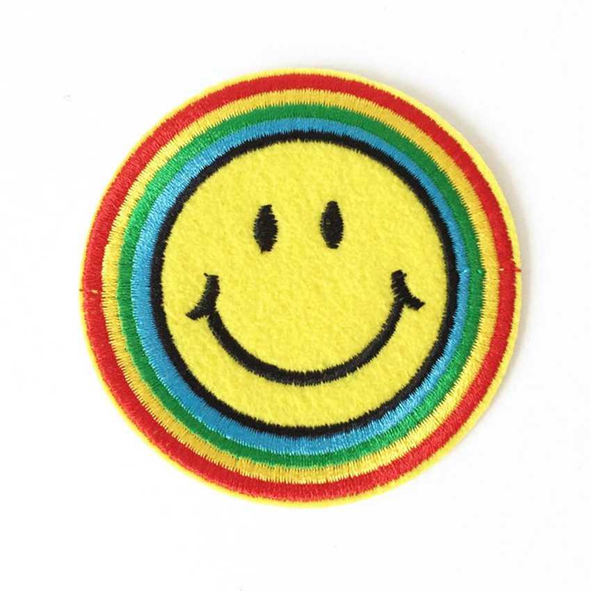 2018 наклеек Parches 90 s счастливый Хиппи Радуга смайлик Утюг-на патч аппликация мотив ткани детские игры дартс наклейка