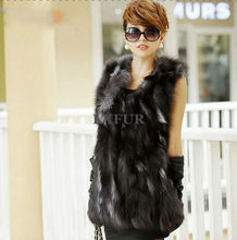 2016 Fashion Womens Genuine Pieces Silver Fox Fur Vest Spring Real Fox Fur Waistcoat Winter Sleeveless Outerwear LX00785