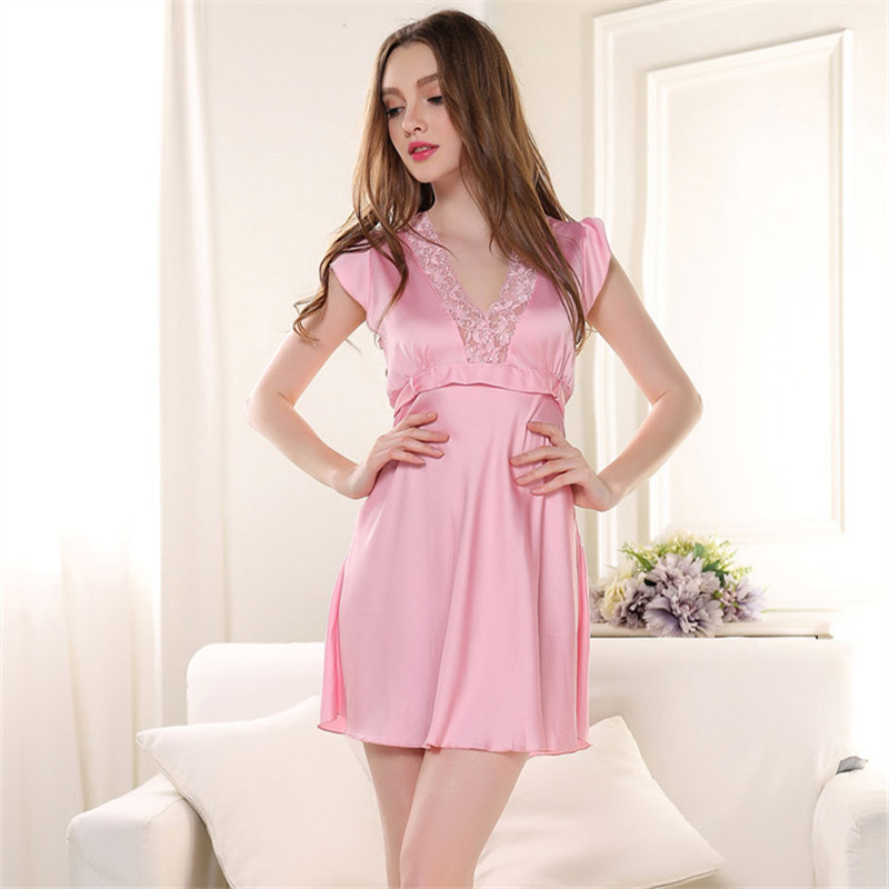 eb1a2ae447 Hot Sale Sexy Nightwear Camison Sexy Mujer Lace Splicing Halterneck Short  Nightgown Plus Size Ladies Nightdress Women Sleepwear -in Nightgowns    Sleepshirts ...