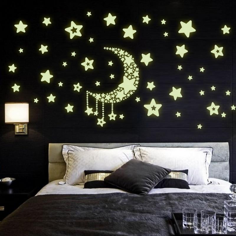Urijk DIY Home Decoration Luminous Wall Sticker Light At Night Moon Star Wall Stickers for Living Room Wall Decor