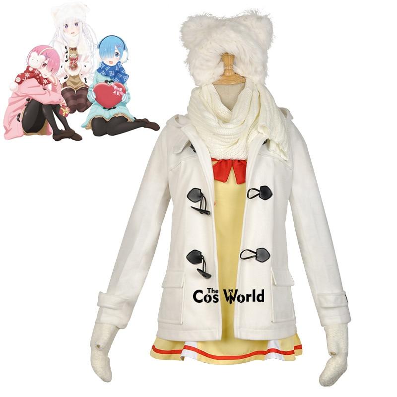 Re Zero Kara Hajimeru Isekai Seikatsu Emilia Daily Winter Uniform Coat Tops Suit Outfit Anime Cosplay Costumes