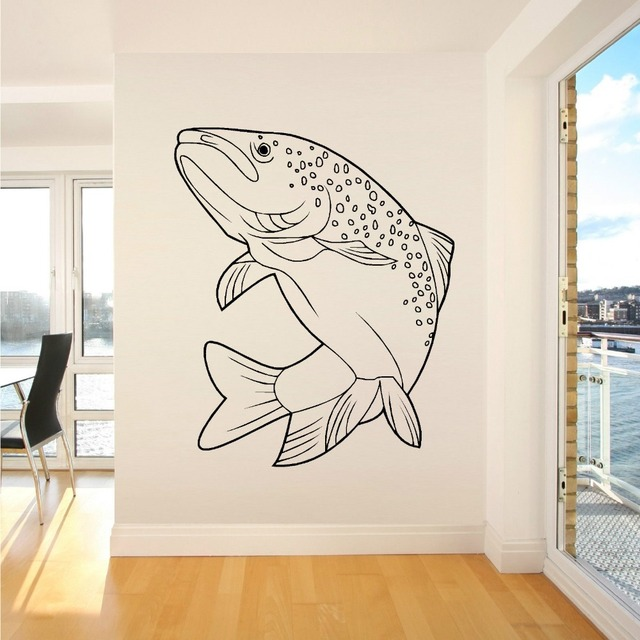 SALMON FISH JUMPING RIVER SEA FISHING ANGLING Vinyl wall sticker Home decal Interior Design Art Removable Stickers Room Decor