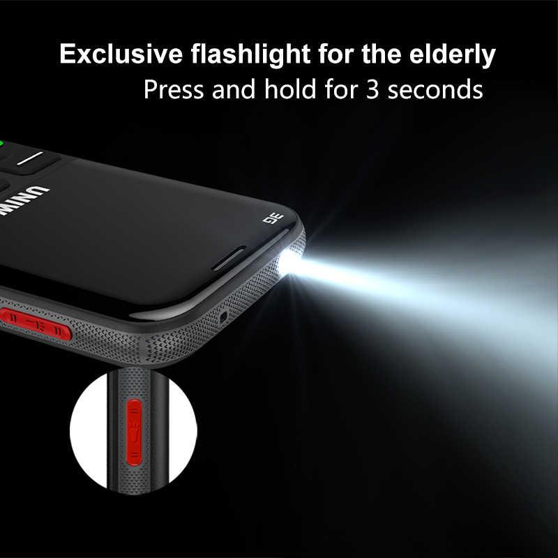 """UNIWA V808G الرجل العجوز الهاتف المحمول كبير SOS زر البطارية 2.31 """"3D منحني شاشة WCDMA الهاتف المحمول مصباح يدوي الشعلة المسنين الهاتف"""
