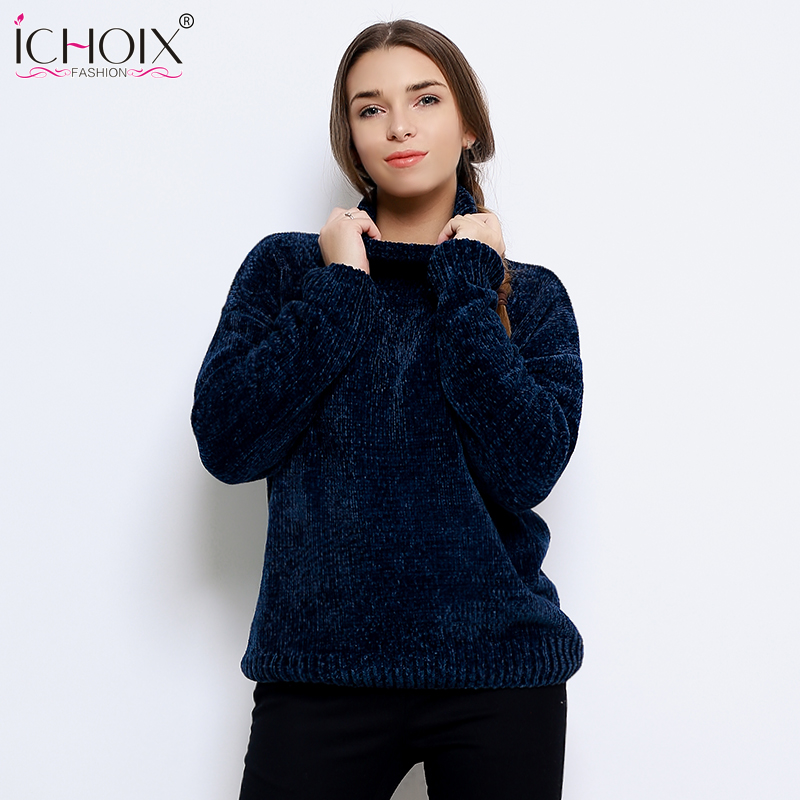 ICHOIX 2018 Winter Autumn Knitted Sweaters Women Hairy Long Sleeve Turtlneck Lady's Sweater Velvet Thickness Pullovers Jumper