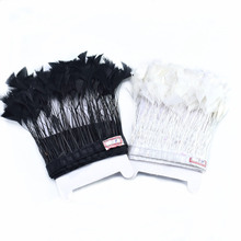 wholesale 2Meter Goose Feather Trim clothes DIY black White Pheasant Feathers Fringe wedding crafts decor piuma Finiture
