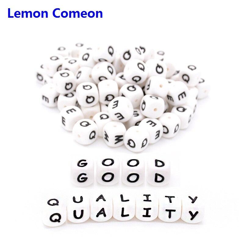 Comeon limão 300-1000 PC Silicone Letras Inglês Alfabeto Contas 12mm Brinquedo da Mastigação Para DIY Chupeta BPA LIVRE cadeia Colar de Dentição