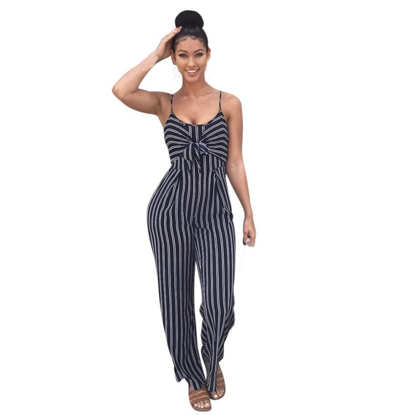 OL Ladies Elegant Striped Print Formal Jumpsuits Summer Womens Sleeveless Bowknot Long Playsuit Rompers Women Casual Overall #JO