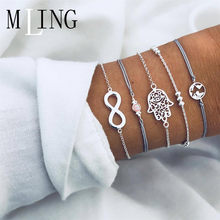 MLING 5 Pcs/Set Vintage 8 Word Hollowed Hand Of Fatima World Map Bracelet Set Sliver Color Bracelet Set Chains Female Jewelry(China)