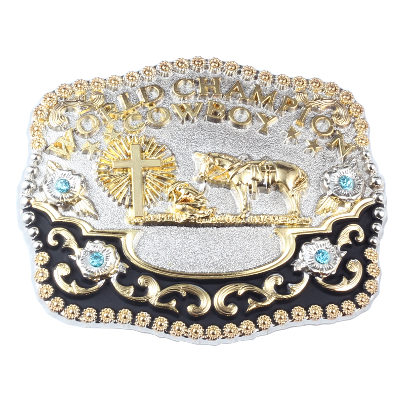 Cowboy Style Belt Buckle Big Gold Belt Agio Horse Designs World Champion