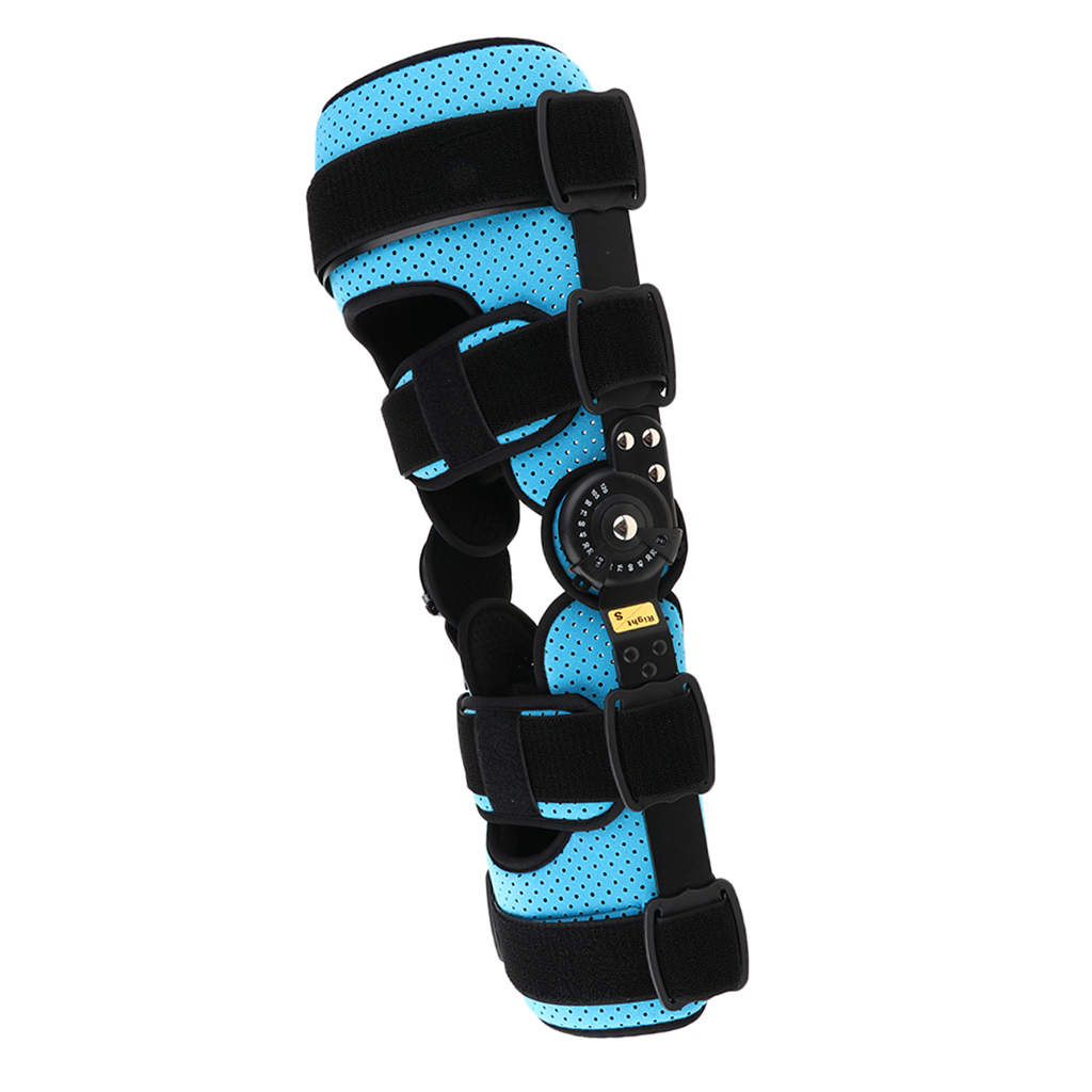 Breathable Full Leg Stabilizer Hinged Knee Support Orthosis Brace Guard Wrap Strap Fracture Fixed Splint Blue