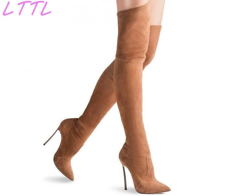 Stretch Leather Women Over The Knee Boots 12cm Blade Heel Pointy Toe Ladies Boots Thin Leg Knight Style Stiletto Boots new fashion back lace women over the knee boots black suede leather ladies pointy toe thigh boots stiletto boots