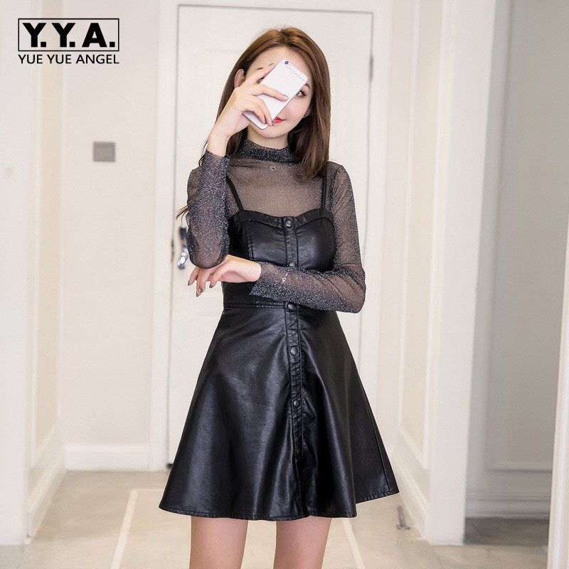 Women 2018 Spring Sexy A Line Slim Fit Pu Leather Dresses See Through Black Mini Punk Lace Dress Slim Fit Night Club Party Cloth