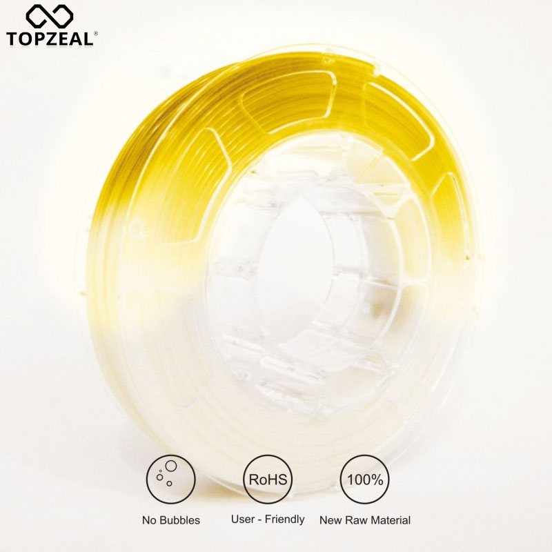 TOPZEAL 3D Printer PLA Light Change  Filament Dimensional Accuracy +/- 0.05mm,1.75mm White To Yellow