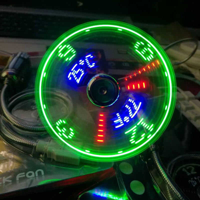 USB fans mini Time and Temperature display creative gift with LED Light new cool gadgets products for Laptop PC dropship 2019