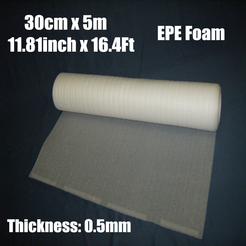 0,3 * 5m 1roll 0.5mm Skyddande EPE Skum Packning Roll Laser Warp Frakt Pre-Cut Mail Packaging Film Material Verpakkings Material