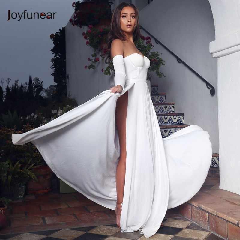 6e22a2f9a3 ... Joyfunear Off Shoulder White Women Maxi Dress Summer Vestido New Long  Slevee Elegant Party Dress Bodycon ...