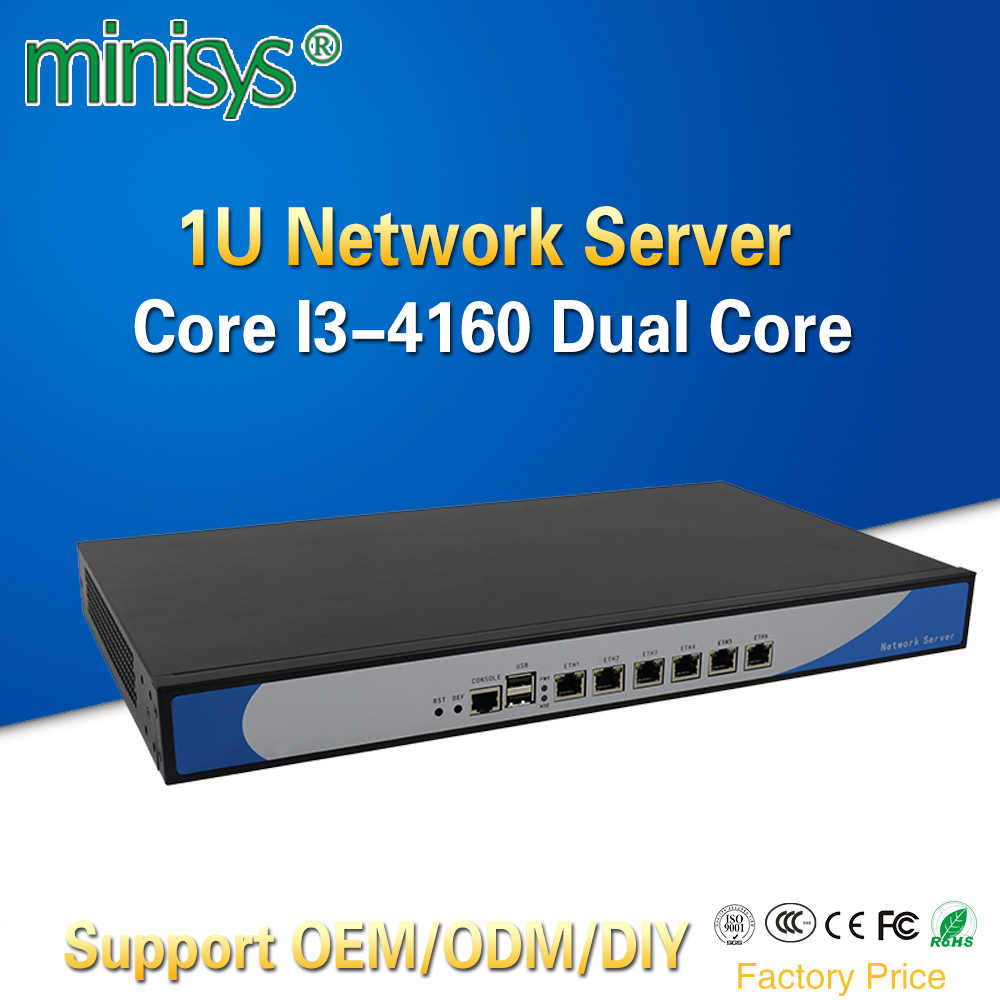 MINISYS Intel Core I3 4160 Processor Network Security Server 1U Rackmount Firewall PC Pfsense with 6 Lan Support add 2 SPF Ports