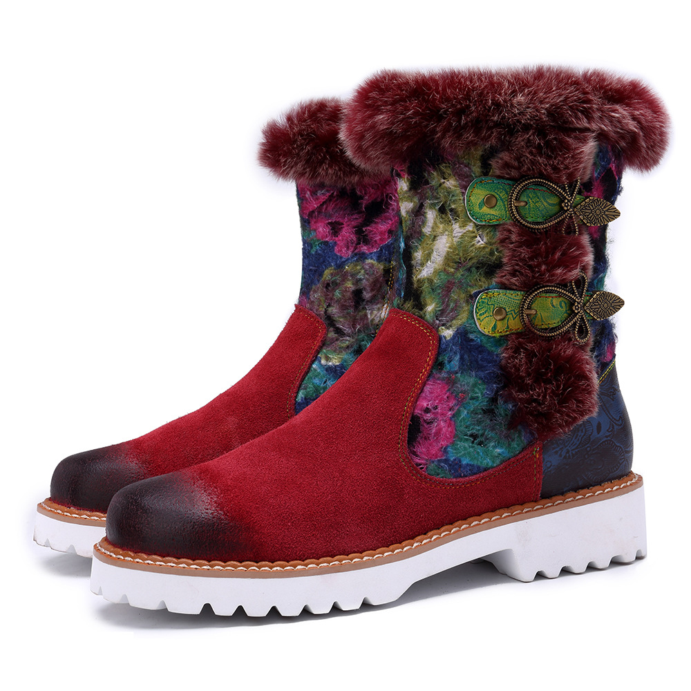 Johnature 2019 Snow Boots Rabbit Fur New Genuine Leather Ankle Women Winter Autumn Shoes Woman Flower
