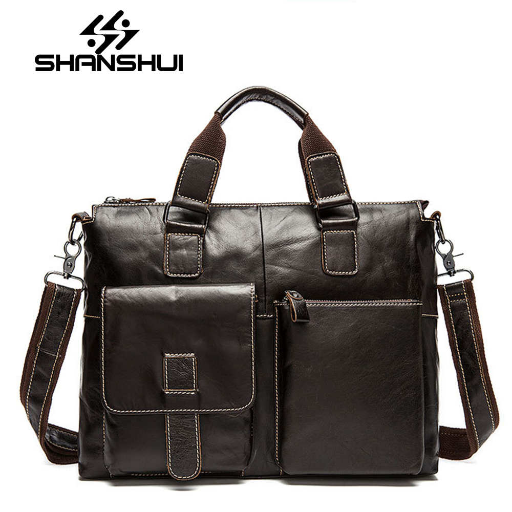 SHANSHUI Men Bag Genuine Leather Bag Men Crossbody Bags Messenger Men's Travel Shoulder Bags Tote Laptop Briefcases Handbags yishen genuine leather bag men bag cowhide men crossbody bags men s travel shoulder bags tote laptop briefcases handbags bfl 048