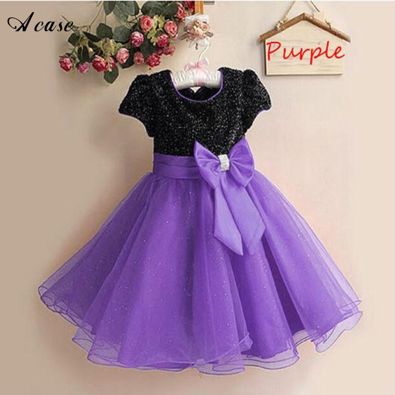 Little Girl Elegant Sequins Dress 2018 New Party Princess Clothing Summer Kids Children Lace Bow Costume Short Sleeve Dresses цена и фото