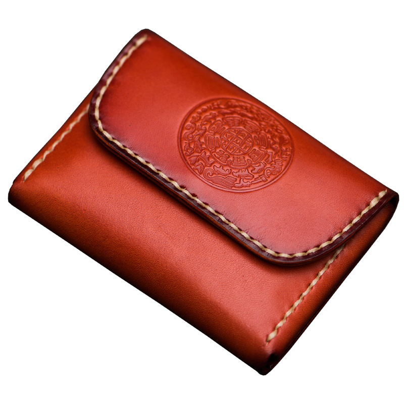 Handmade leather wallet Unisex short buckle card bag Vintage Chinese style leather clip leather coin purseHandmade leather wallet Unisex short buckle card bag Vintage Chinese style leather clip leather coin purse