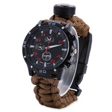 Outdoor Tactical Survival Watch Bracelet with Compass Flint Fire Starter Paracord Thermometer Whistle Multifunction Camping Band